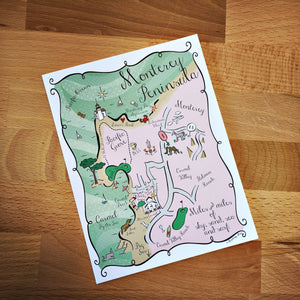 Monterey Peninsula Map Full Color Note Card