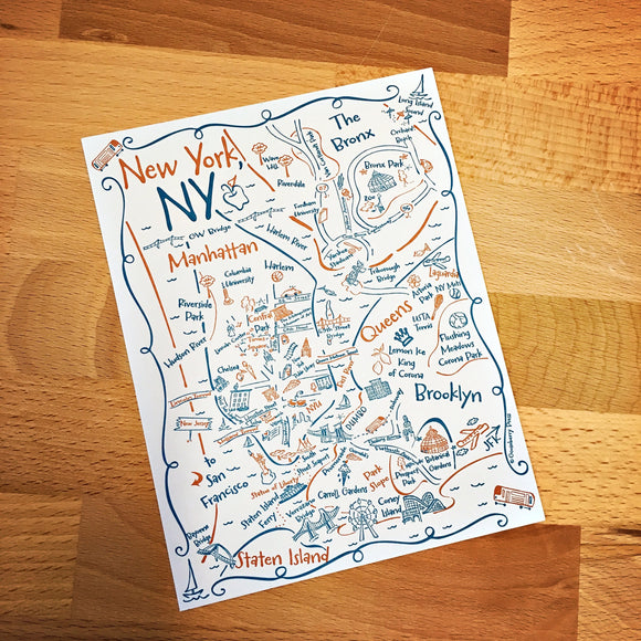 New York City Boroughs Map Letterpress Postcard / Save the Date Card