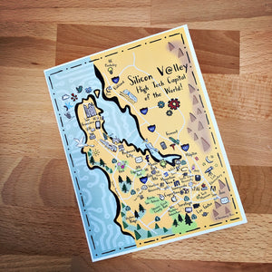 Silicon Valley Map Full Color Note Card
