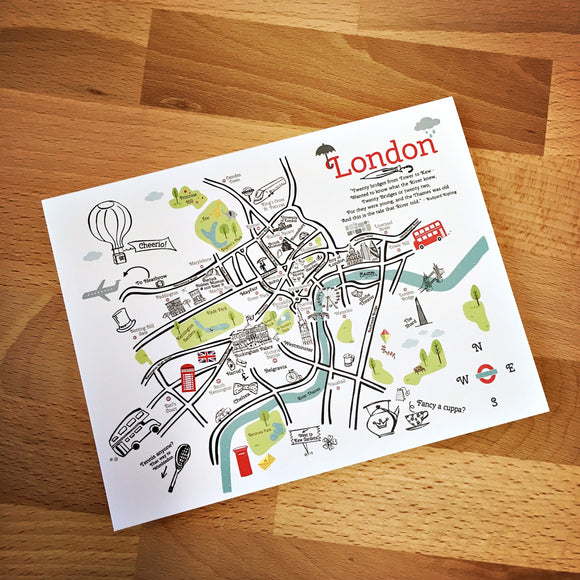 London City Map Full Color Note Card