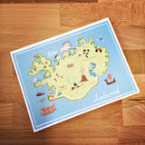 Iceland Map Full Color Note Card