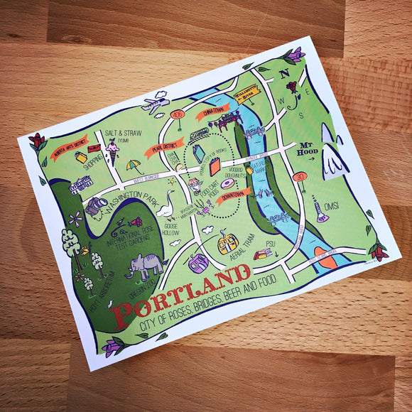 Portland Map Full Color Note Card