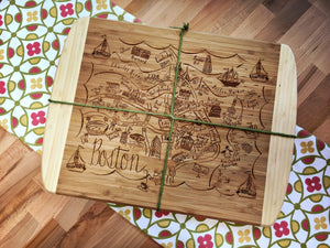 Boston Map Large Bamboo Cutting Board