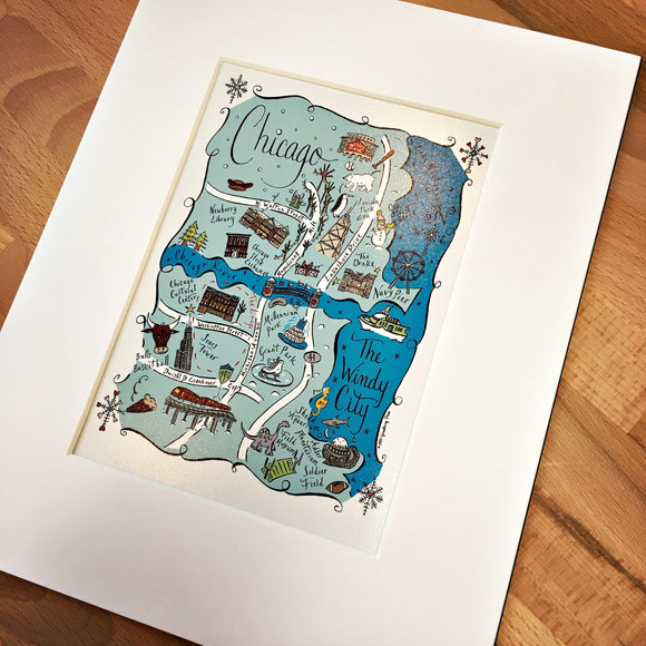 Chicago Winter Map Art Print
