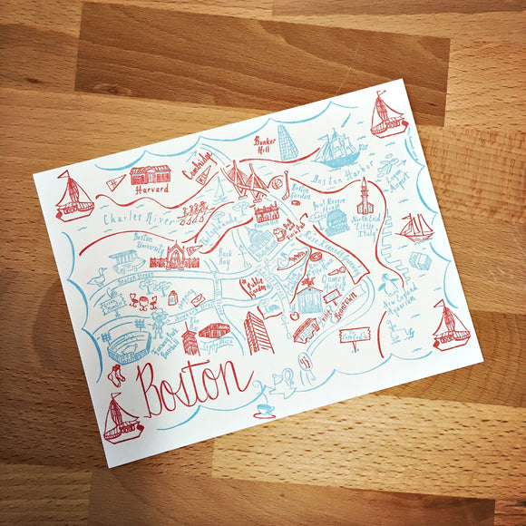 Boston City Map Letterpress Postcard/Save the Date Cards