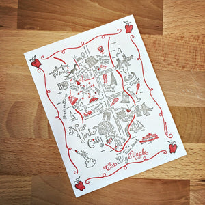 Manhattan (New York City) Map Letterpress Postcard/Save the Date Cards