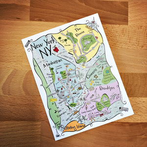New York Boroughs Map Full Color Note Card