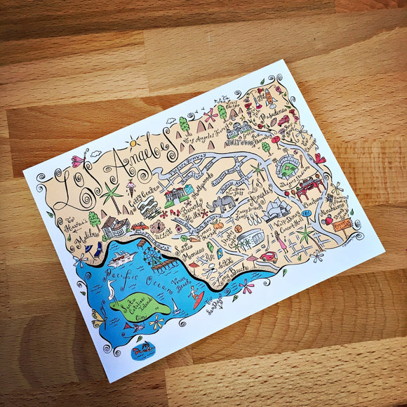 Los Angeles Metropolitan Area Map Full Color Note Card