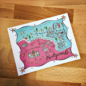 Hollywood Map Full Color Note Card