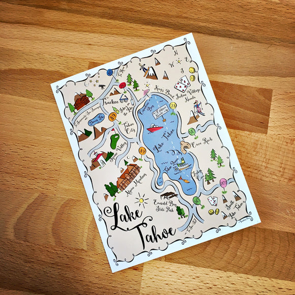 Lake Tahoe City Map Full Color Note Card