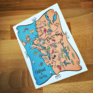 Oakland Map Full Color Note Card
