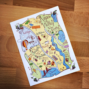 Napa Valley Map Full Color Note Card