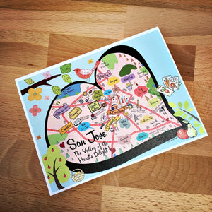 San Jose City Map Full Color Note Card