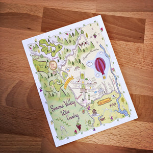 Sonoma Valley Map Full Color Note Card