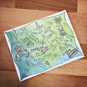Rome City Map Full Color Note Card