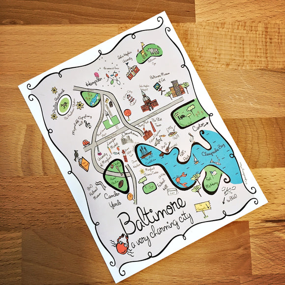 Baltimore City Map Full Color Note Card