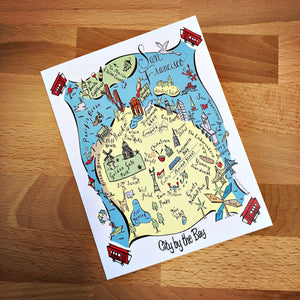 San Francisco City Map Full Color Note Card