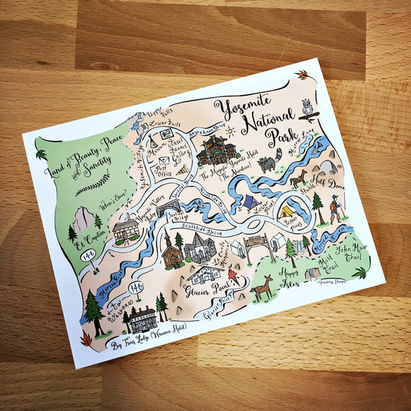 Yosemite National Park Map Full Color Note Card