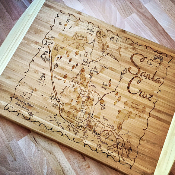 Santa Cruz Map Large Bamboo Cutting Board