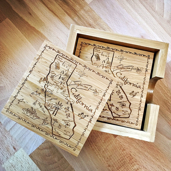 California Map Bamboo Coaster Set