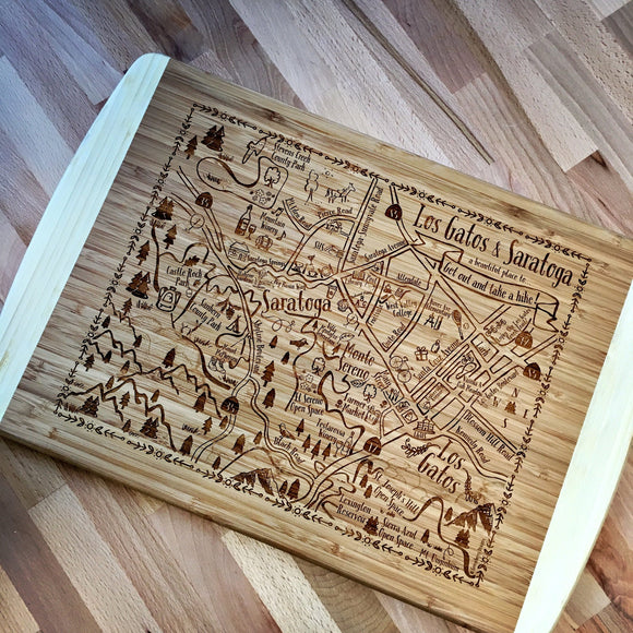 Los Gatos - Saratoga Map Large Bamboo Cutting Board