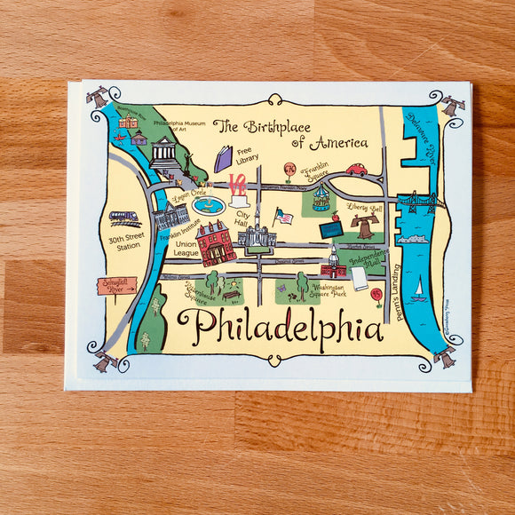 Philadelphia Map Full Color Note Card