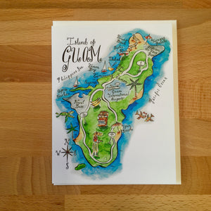 Island of Guam Map Full Color Note Card