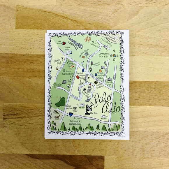 Palo Alto Map Full Color Note Card