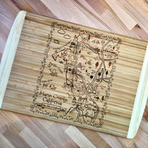 Marin County Map Large Bamboo Cutting Board