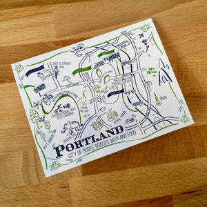 Portland Map Two Color Note Card