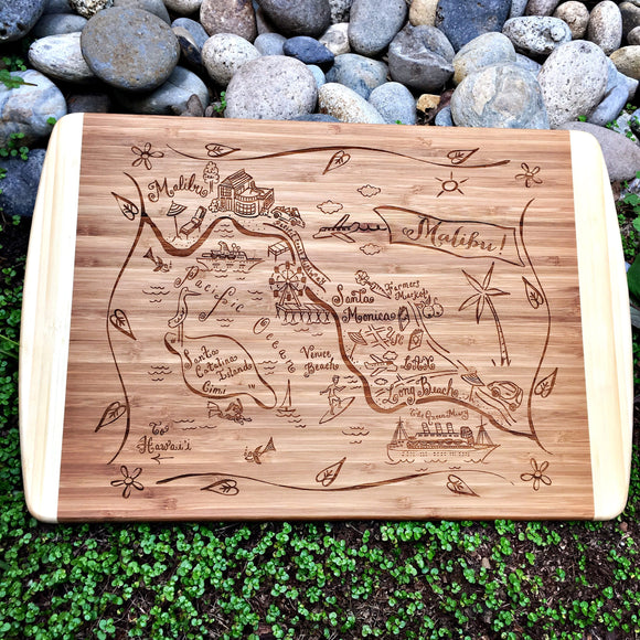 Malibu Map Large Bamboo Cutting Board