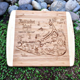 Nantucket Island Map Small Bamboo Cheese Board