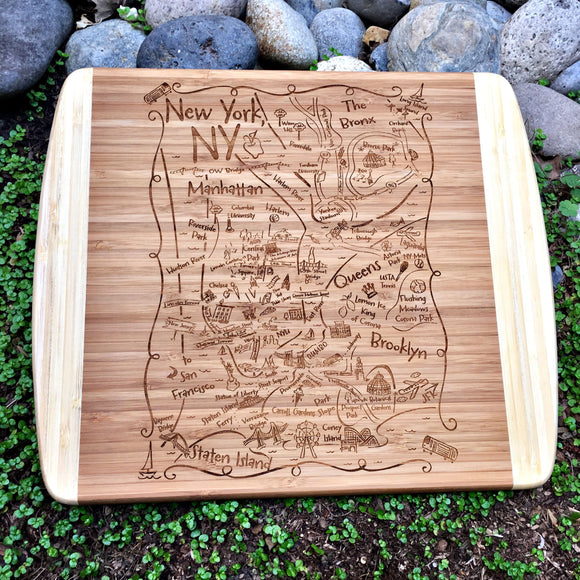 NY Boroughs Map Small Bamboo Cheese Board