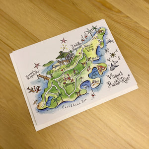 Puerto Rico Map Full Color Note Card