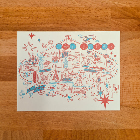 Las Vegas Map Letterpress Postcard/Save the Date Cards
