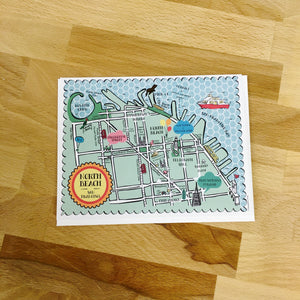 North Beach Map Full Color Note Card