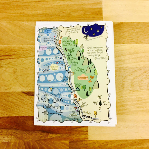 Big Sur Map Full Color Note Card