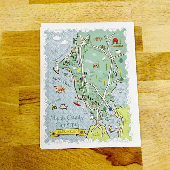 Marin County Map Full Color Note Card