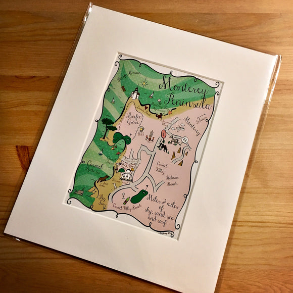 Monterey Peninsula Map Art Print