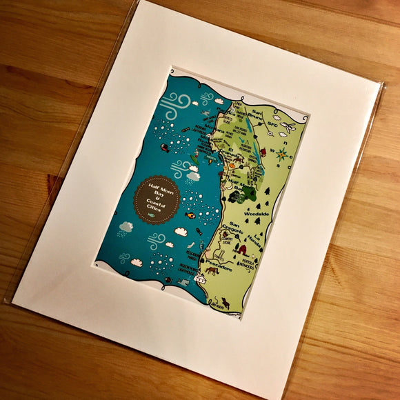 Half Moon Bay Map Art Print