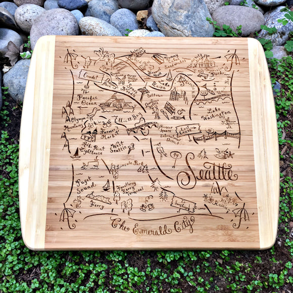 Seattle Map Small Bamboo Cheese Board