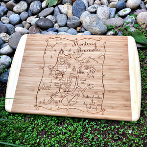 Monterey Peninsula Map Large Bamboo Cutting Board