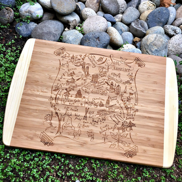 San Francisco Map Large Bamboo Cutting Board