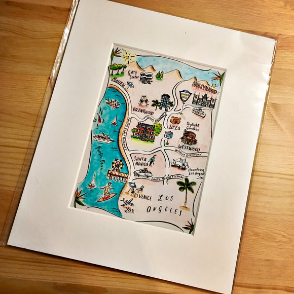 Los Angeles Watercolor Map Art Print