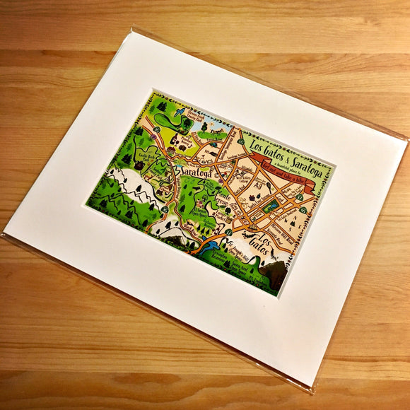 Los Gatos - Saratoga Map Art Print
