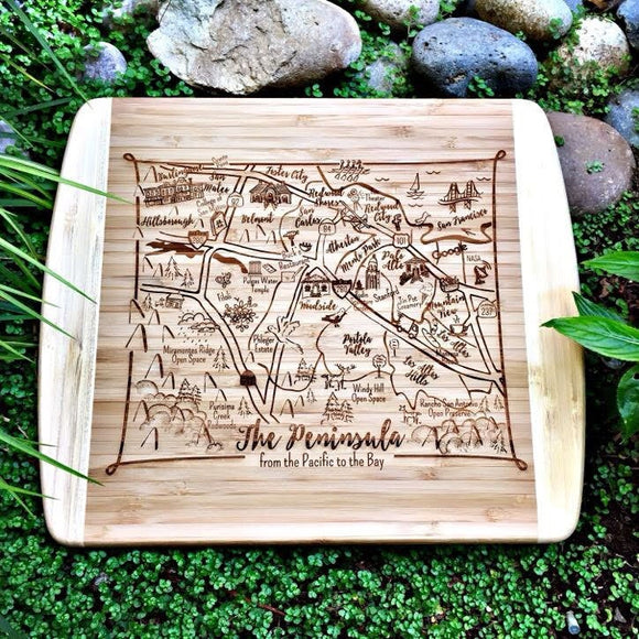 SF Peninsula Map Small Bamboo Cheese Board