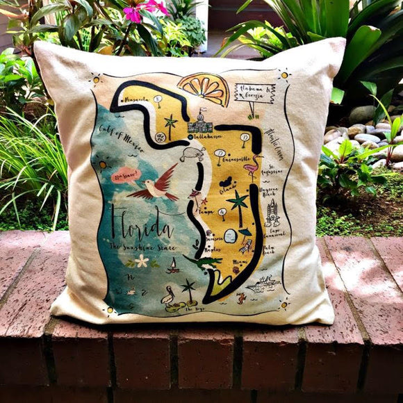 Florida State Map Square Pillow