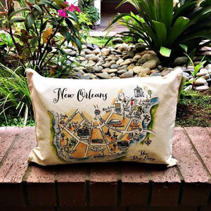 New Orleans Map Rectangle Pillow