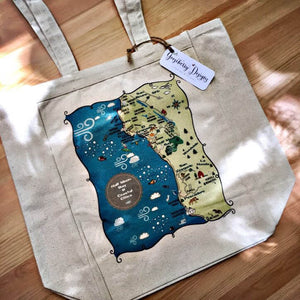 Half Moon Bay City Map Tote