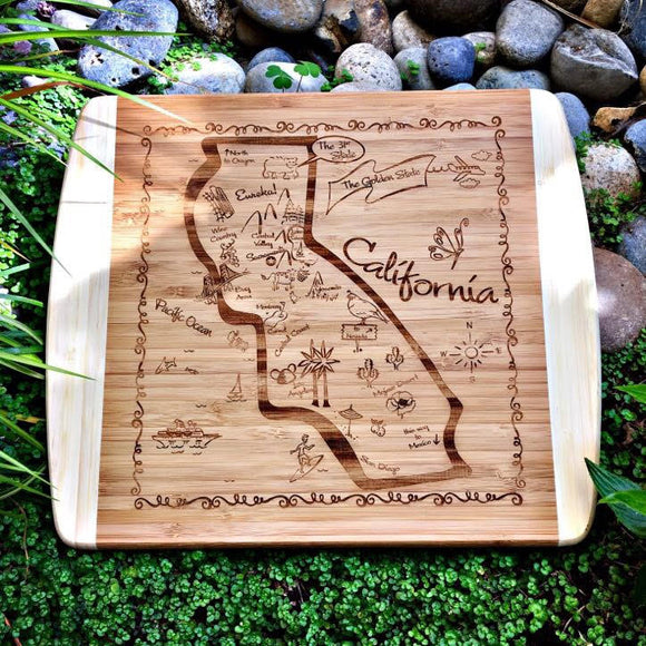 California Map Small Bamboo Cheese Board